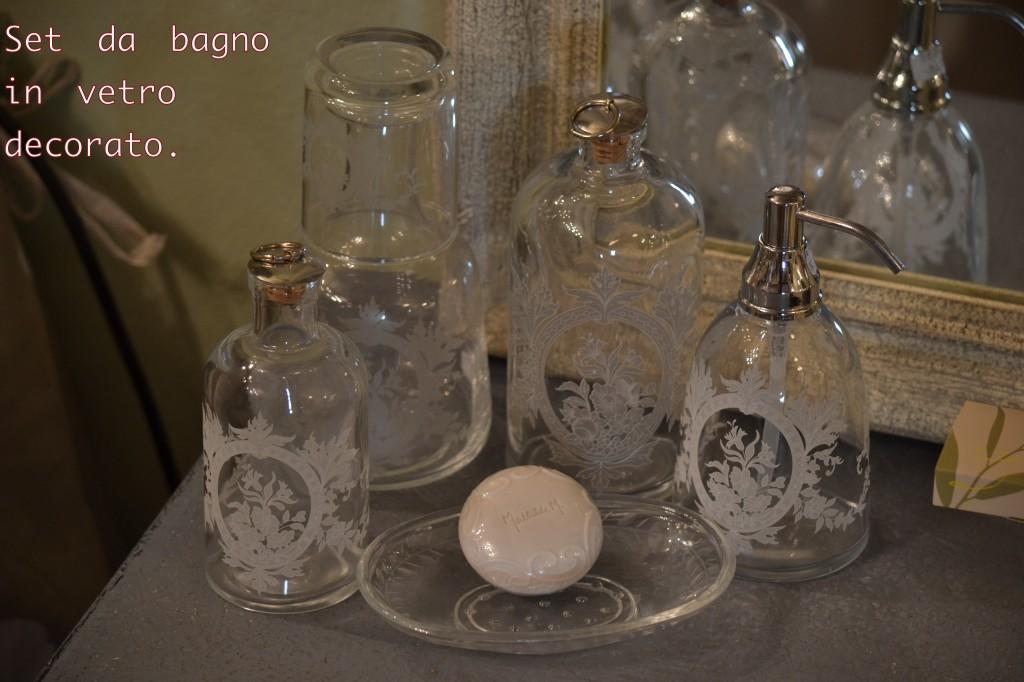 Set da bagno in vetro decorato