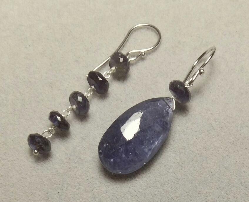 Orecchini pendenti in argento con pietre semipreziose