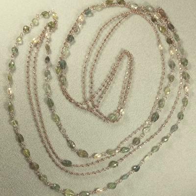 Collan lunga doppia catena argento 925 rosato con tormaline
