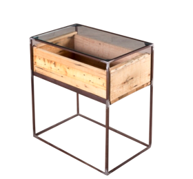 comodino con cassetto in legno di recupero, struttura in ferro battuto, piano in vetro