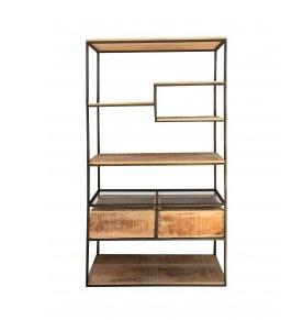 libreria ripiani e cassetti in legno di recupero struttura in ferro battuto