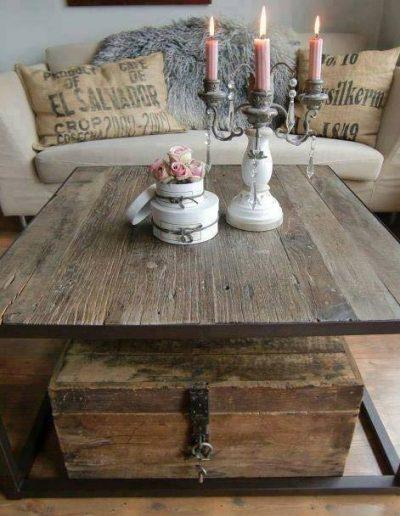 tavolino piano in vecchio olmo e ferro battuto