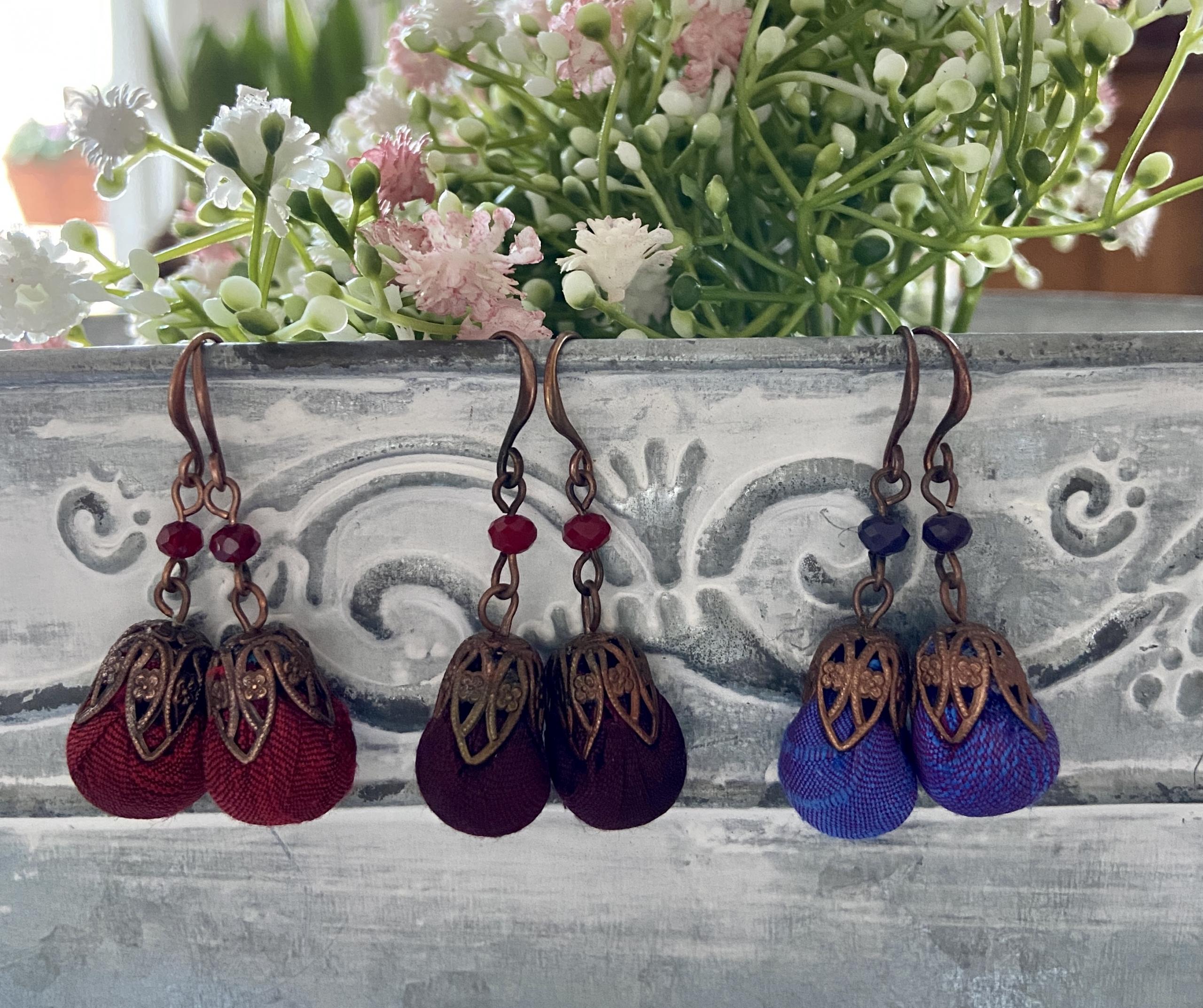 orecchini bonbon in rame e seta