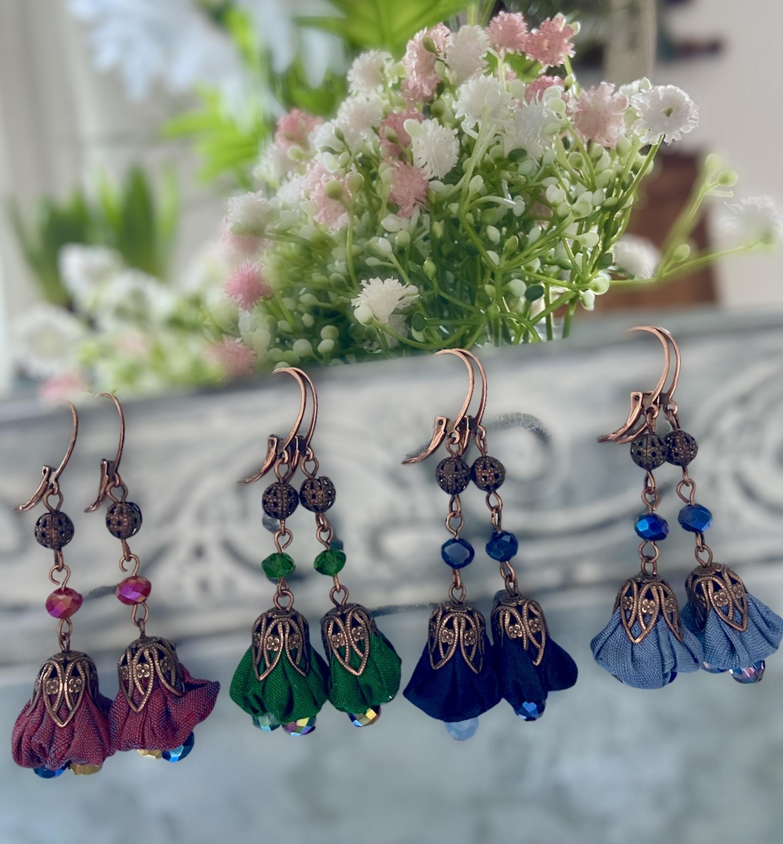 orecchini in rame e fiorellino in shantung